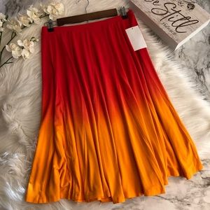 Soft Surroundings Flare Skirt Red Orange Ombré, PS